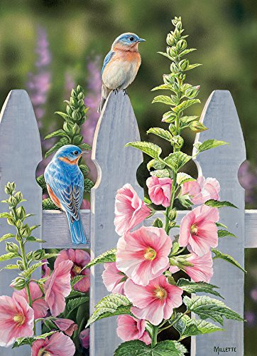 Cobblehill 80009 1000 pc Bluebirds and Hollyhocks Puzzle, Various