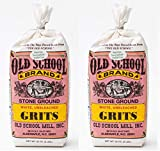 Old School Brand Stone Ground White Corn Grits Non-GMO 32 ounces (Pack of 2)