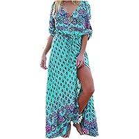 Womens Dress, Orangeskycn Women Long V Neck Floral Printed Beach Dresses