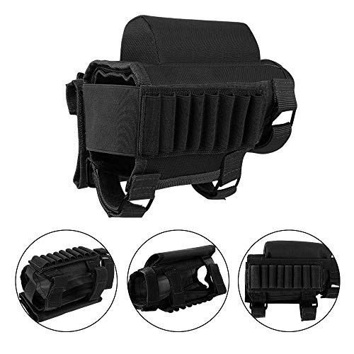 AIRSSON Tactical Buttstock Butt Stock Holder Ammo Pouch Molle 8 Bullet Shells Holsters(2PCS with Different Heights Cheek Leather Pads .22 .223 Cal .308 30-06 .300 .303 & 7.62mm (Pure Black) (Stock For A Ruger 30 06)
