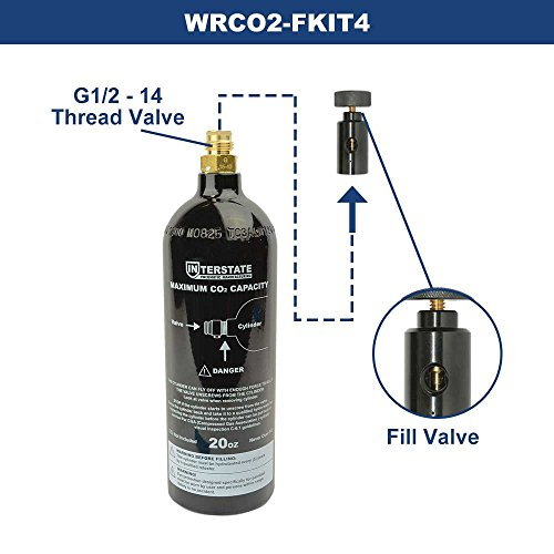 Interstate Pneumatics WRCO2-FKIT4 20 Oz. CO2 Pin Valve Cylinder Tank Paintball with Tank Fill Adapter by Interstate Pneumatics