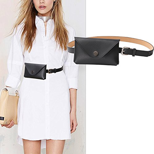 Womens Tassel Waist Pouch Fashion Belt Bags Trendy Fanny Pack Travel Wallet Black Color By JASGOOD Black Belt by JASGOOD