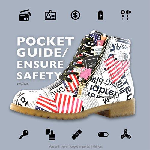 Dailyshoes Da Donna Stivali Da Combattimento Militare Trapuntato Da Trekking Lace Up Fibbia Alla Caviglia Alta Esclusiva Carta Di Credito Pocket Premium Usa Bandiera Pu