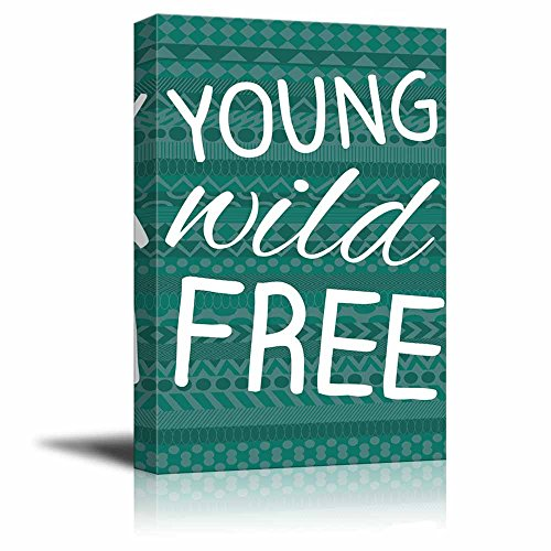 Young Wild Free typography on a teal zentangled background