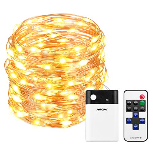 Mpow 33ft 100 LED Battery Operated String Lights Fairy String Lights Remote Control Decorative Lights Dimmable Copper Wire Lights Bedroom Patio Garden Parties 2 Colors ChangableWhite