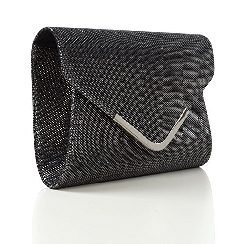 Essex Bag Womens Evening Glam Clutch Purse Black Glitter Glitter Envelope gA6xfgv