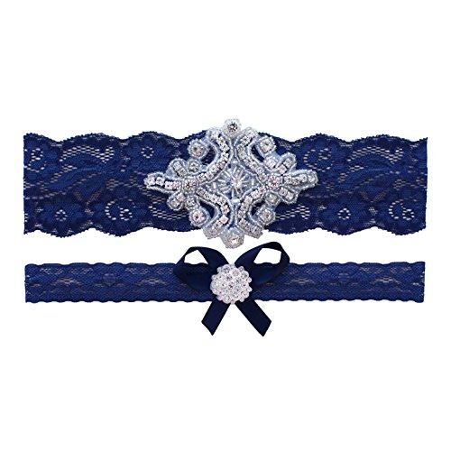 Navy Blue Wedding Garter   Garters for Brides   (Navy Blue, Medium (18