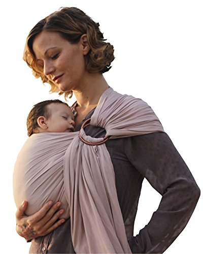 Luxury Ring Sling Baby Carrier - extra-soft bamboo and linen fabric - lightweight wrap - for newborns, infants and toddlers - perfect baby shower gift - great for new Dad too - nursing cover ()