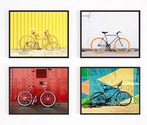 Bicycle Set Photography Prints, Set of 4, UNFRAMED, Cycling Bike Wall art decor poster sign, 8x10