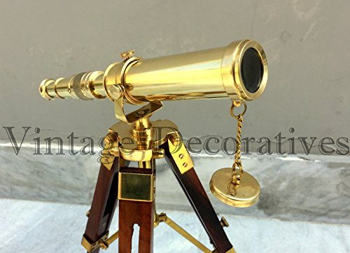 Arsh Nautical Brass Telescope Wooden Tripod Stand Table Top Pirate Working Spyglass Xmas A by Arsh Nautical