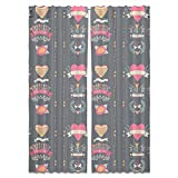 Every Day Is Valentines Day Curtain: Long, Lined Window Treatment Set of 2 Panels for Living Room Bed Room