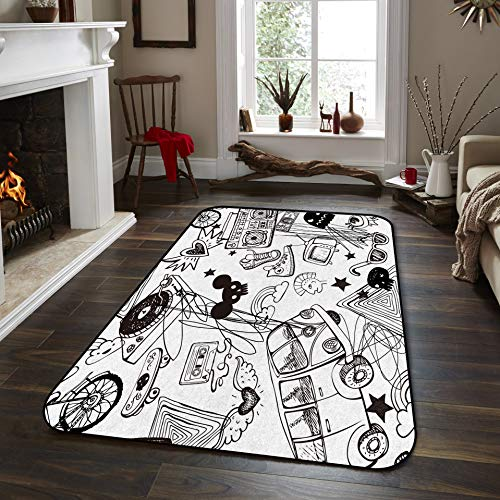 Fantasy Star Non-Slip Area Rugs Room Mat- Eiffel Tower and Flowers Home Decor Floor Carpet for High Traffic Areas Modern Rug Kitchen Mats Living Room Pads, 3' x 5'