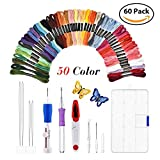 Magic Embroidery Pen Punch Needles- Craft Tool Set Combination Including Embroidery Pen,50 Color Threads for DIY Sewing Cross Stitching