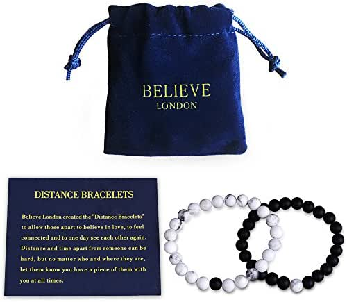 Believe London Distance Bracelets with Jewelry Bag & Meaning Card | Strong Elastic | Friendship Relationship Couples His Hers | Black Agate Onyx White