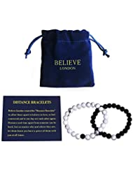 Believe London Distance Bracelets Jewelry Bag & Meaning Card | Strong Elastic | Friendship Relationship Couples His Hers | Black Agate Onyx White