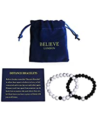 Believe London Distance Bracelets Couples Bracelets Relationship Bracelets | Strong Elastic | Friendship Relationship Couples His Hers | Black Agate Onyx White