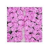 Lovely-cloud 36/72/144Pcs 2cm Decorative Teddy Bear Rose Pe Foam Artificial Flower Bouquet for Home Wedding Decoration DIY Wreath Fake Flower,Dark Pink,144Pcs