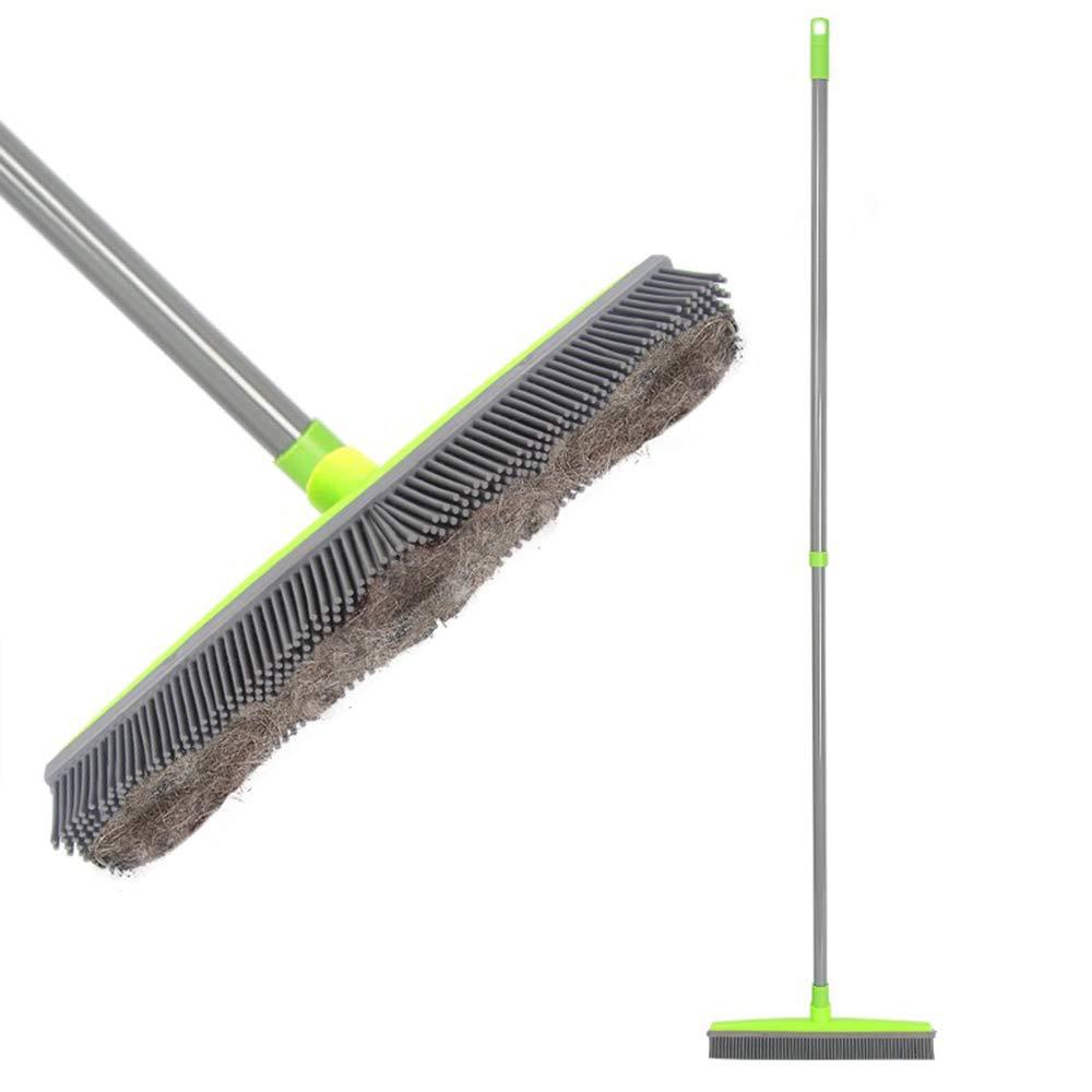 LandHope Push Broom Long Handle Rubber Bristles Sweeper Squeegee Edge 54 inches Non Scratch Bristle Broom for Pet Cat Dog Hair Carpet Hardwood Tile Windows Clean Water Resistant (Grey) by LandHope
