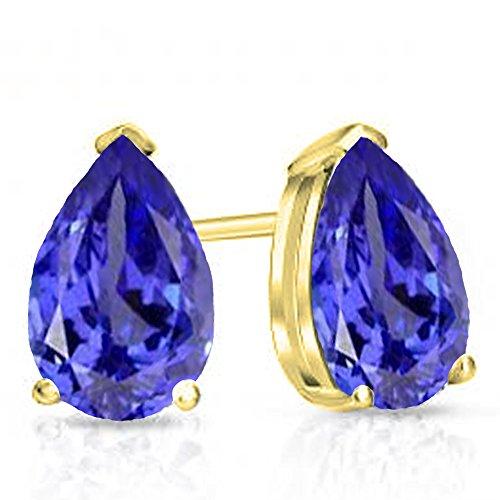 (Dazzlingrock Collection 10K 6x4mm Each Pear Cut Tanzanite Ladies Solitaire Stud Earrings, Yellow Gold)