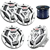Marine Speaker 6.5 Inch 2-Way Marine Boat Yacht Outdoor Waterproof Coaxial Speakers Bundle Combo