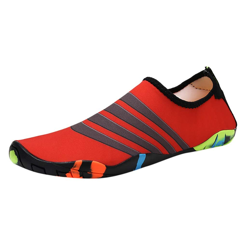 NUWFOR Couple Beach Shoes Swimming Shoes Water Shoes Barefoot Quick Dry Aqua Shoes(Red,6 M US Length:8.9'')