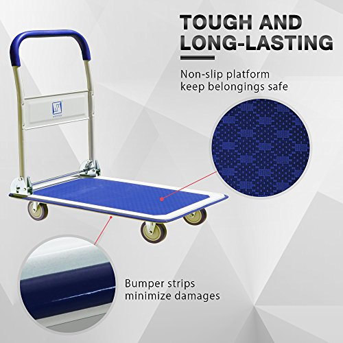 Push Cart Dolly by Wellmax | Functional Moving Platform + Hand Truck | Foldable for Easy Storage + 360-degree Swivel Wheels + 330lb Weight Capacity | Blue Colour by Wellmax (Image #4)