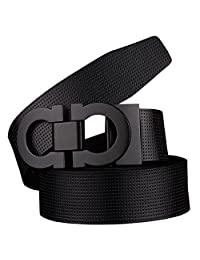 Men's Smooth Leather Buckle Belt 35mm Leather up to 42inch (105-115cm for Choose) 110cm Black-Black