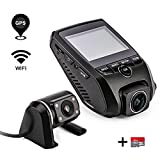 ZXS X2 Car Dash Cam 2.31″ LCD FHD 1080P 170 Degree Wide Angle Lens Super Capacitor Recorder With G-Sensor,Motion Detection,Loop Recording with 32GB SD Card (Standard Version+GPS module+Rear Camera)