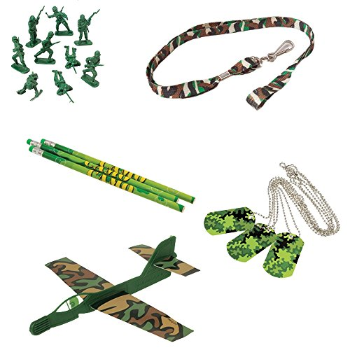 Camouflage Pencils (Camo Camouflage Toy Party Favor Supplies Set for 12 Bundle 84 Pieces Dog Tags Pencils)
