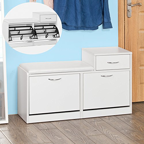 Haotian FSR17-W, Shoe Storage Bench with Cushioned Seat and Drawer, Three Tiers Flip-drawer Shoe Cabinet, White - Drawer Shoe Cabinet