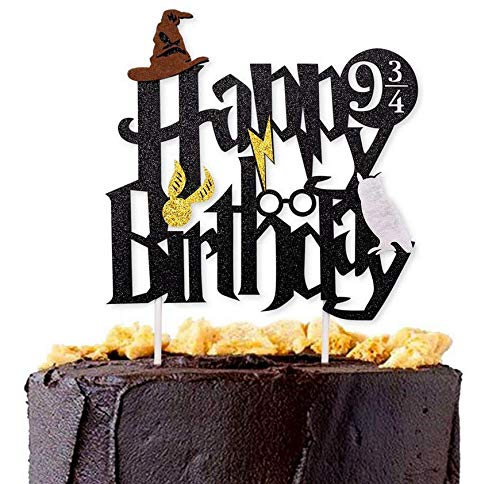 - Astra Gourmet Double Sided Glitter Black Wizard Happy Birthday Cake Topper Wizard Party Supplies for Harry Potter Theme Party Decorations