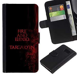 JackGot ( Fuego y Sangre Targaryen ) Samsung Galaxy S6 la tarjeta de Crédito Slots PU Funda de cuero Monedero caso cubierta de piel