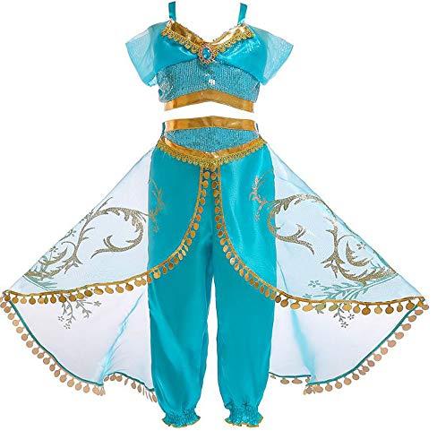 DOUJIONG Cosplay Costume Jasmine Halloween Cosplay Children's Belly Dance Costume (140cm, -