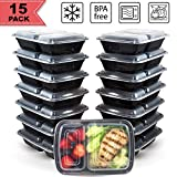 [15 Pack] FreshPREP Meal Prep Containers - Reusable, Stackable, BPA Free, Microwave, Freezer & Dishwasher Safe Fitness Meal Containers - Food Prepping Portion Control Container - 2 Compartment - 32oz