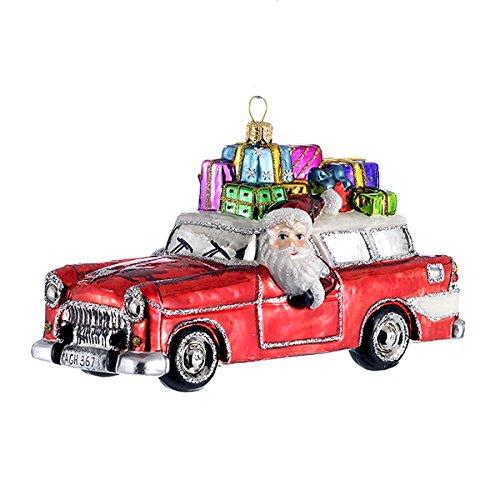 Kurt S. Adler GP2395 Polonaise Glass Santa in Car Ornament