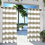 Exclusive Home Indoor/Outdoor Stripe Cabana Grommet Top Curtain Panel Pair, Taupe, 54x96, 2 Piece