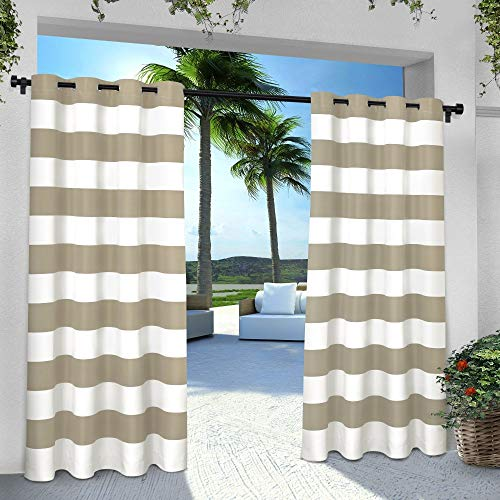 Exclusive Home Curtains Indoor/Outdoor Stripe Cabana Window Curtain Panel Pair with Grommet Top, 54x96, Taupe, 2 - Top Tab Curtains Striped
