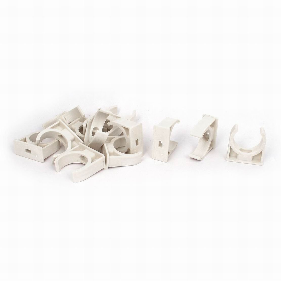 Uptell 32mm Dia Water Pipe Tube Hose Clamps Snap in Clips Fitting White 13pcs