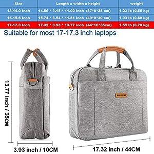 """DOB SECHS 16"""" 17"""" 17.3 Inches Laptop Bag Shockproof Briefcase Shoulder Messenger Bag, Universal Nylon Business Laptop Sleeve Case, Laptop Carrying Handbag for Men/Women, Grey"""