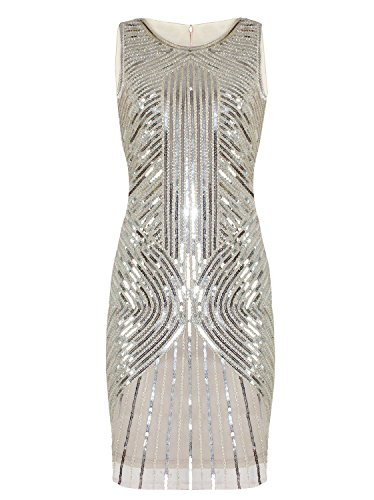 (Vijiv Women's 1920s Sequined Inspired Beaded The Gatsby Flapper Dress Beige XL)