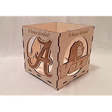 A House Divided-Tennessee/Alabama engraved candle holder-Unfinished wooden candle box-gift box-centerpiece-college candle holder