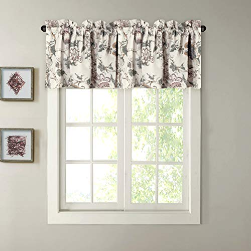 H.VERSAILTEX Window Valance Rustic Style Ultra Soft Material Suits Kitchen Bath Laundry Bedroom Living Room (Rod Pocket, 58 15 inch, Vintage Floral Pattern in Sage Brown, Set of 1) by H.VERSAILTEX (Image #7)'