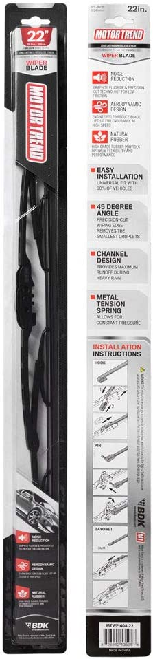 Motor Trend WP122 UltraFirm Precision Wiper Blade – High-Grade Natural Rubber, Metal Frame, 45 Degree Cut for Maximum Clarity (22 Inch)