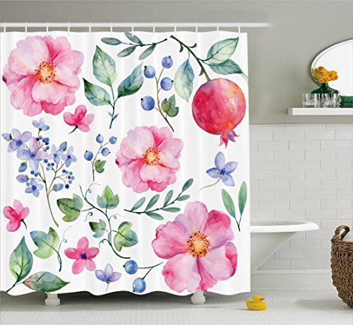 Ambesonne Flower Decor Shower Curtain by, Natural Botanic Decoration with Roses Leaves and Pomegranates Romantic Image, Fabric Bathroom Decor Set with Hooks, 70 Inches, Multicolor