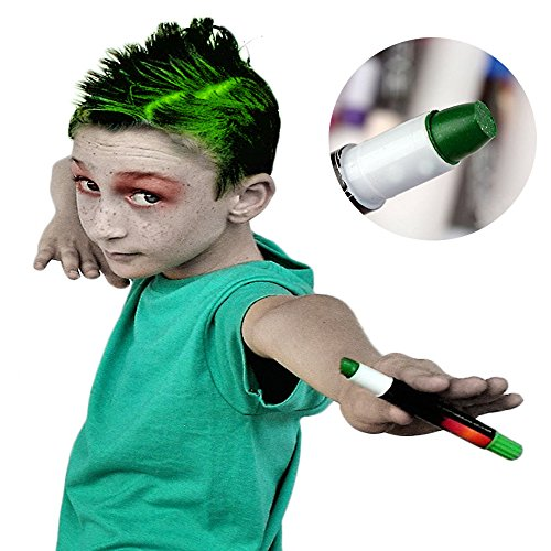ZOMBIES AND ZEDS Green Hair Chalk For Boys and Girls Temporary Hair Dye Color Chalk, NO MESS, EASY TO WASH OUT, For Party, Halloween, or Play