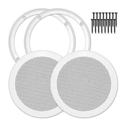 Reliable Hardware Company RH-4002-6.5-2-A White Universal Surface Mount 6-1/2'' Speaker Covers, Pair by Reliable Hardware Company