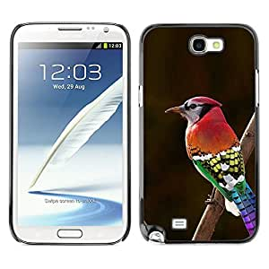 Planetar® ( Red Brown Green Red Beak Branch Brown ) SAMSUNG Galaxy Note 2 II / N7100 Fundas Cover Cubre Hard Case Cover