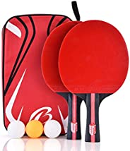 Ping Pong Paddle, 2-Player Table Tennis Racket Set with 3 Balls 1 Bag for Shake-Hand Grip Players, Perfect for