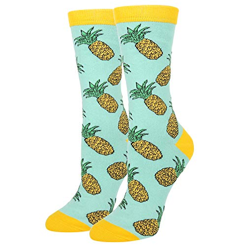 Women's Novelty Crazy Pineapple Crew Socks Funny Colorful Fruits Socks