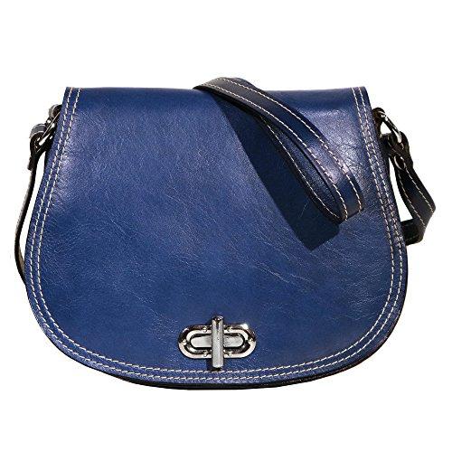 Floto Women's Saddle Bag in Blue Italian Calfskin Leather - Handbag Shoulder Bag